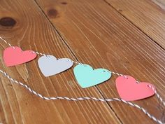 Valentine's Day Garland - paint chip craft, requires heart punches and hole puncher. EASY