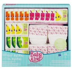 Baby Alive Super Refill Pack. Extensive set of doll food, juice and diaper accessories has everything you need to keep your BABY ALIVE figure (sold separately) well-fed and comfy! Set includes 10 doll food packets, 10 doll juice mix packets and 10 doll diapers. Doll food works only with BABY ALIVE dolls that come with a spoon and doll juice works with BABY ALIVE dolls that drink liquids.