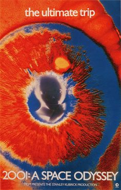A cool psychedelic poster for Stanley Kubrick's 2001: A Space Odyssey, from 1968.