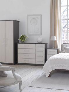 Avola Grey Gloss 2 Door 2 Drawer Combi Wardrobe with MirrorNext