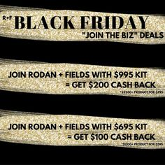 I saved my BEST Black Friday deal for last! What's a better deal than investing in yourself? Get over 50% off product with the $695 and $995 kits PLUS get cash back from me!   The beauty of this company is that there are no requirements: no parties | no inventory | no minimums. You will also be able to earn your investment back TWICE! Message me for details and let's get started on building your empire 😘   #RodanandFields #skincare #investinyourself #BlackFriday
