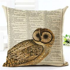 New Arrival Throw Pillow Cushion Home Decor Couch Newspaper With Owl Printed Linen Cuscino Square Cojines Almohadas Modern Decorative Pillows, Decorative Pillow Cases, Owl Print, Printed Linen, Rustic Design, Wicker, Pillow Covers, Newspaper, Throw Pillows