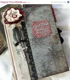 Gothic Wedding guestbook - shabby chic vintage, CUSTOM-  60 pages