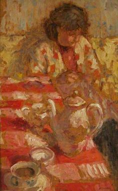 The Red Tablecloth, by The Bathroom, by Bernard Dunstan (British, 1920-2005)