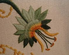 passion flower, crewel embroidery.JPG - Detail from Jacobean Crewel work.