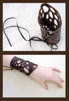 Leather Lace Cuffs by nolwen.deviantart.com on @deviantART
