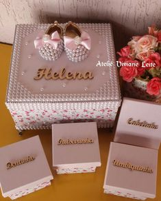 Diy Gift Box, Diy Gifts, Bling Pacifier, Islamic Gifts, Baby Favors, Baby Box, Baby Decor, Decoupage, Baby Kids