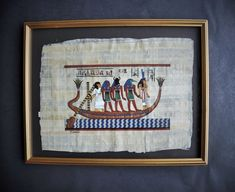 Egyptian Papyrus Painting 17 x 13 Barge Of The Sun Original   Etsy