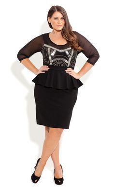 City Chic - BEADED PEPLUM DRESS - Women's plus size fashion