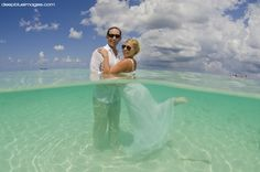 """Crystal Clear Caribbean Sea for """"Trash the Dress"""" Grand Cayman  By Deep Blue Images"""