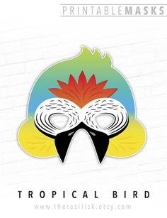 Printable Mask, Halloween, Tropical Bird Mask, # #printablemask #halloween #tropicalbirdmask #bluegoldmacaw #mask #jungle #birdprintablemask #parrot #pretendplay #forkids #rainforest #pets #birdmask Printable Halloween Masks, Printable Animal Masks, Theme Carnaval, Blue Gold Macaw, Animal Themed Birthday Party, Bird Free, Bird Masks, Paper Mask, Tropical Birds