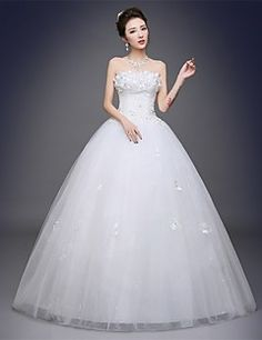 Ball+Gown+Wedding+Dress+Floor-length+Strapless+Satin+/+Tulle+with+Appliques+–+USD+$+145.00