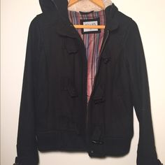 Black Delias pea coat with hood Black pea coat with hood, lightly worn. Great condition! Delias Jackets & Coats Pea Coats