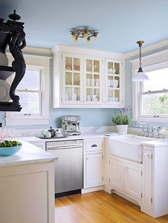 Perfect soft blue for the kitchen! Decorate with Pantone's Colors of the Year: Rose Quartz and Serenity