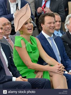 Queen Maxima of the Netherlands is laughing during a speech just before she opened the new building of factory UNIPRO Stock Photo
