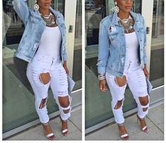 Buy Fashion Women Holes Light Blue Denim Jeans Short Jacket Casual Long Sleeve Boyfriend Style Coat with Pockets at Wish - Shopping Made Fun Outfits Otoño, Casual Outfits, Fashion Outfits, Womens Fashion, Fashion Ideas, Dope Fashion, Girl Fashion, Curvy Fashion, Denim Outfits