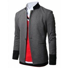 Mens Blazer One Button Jackets with Mandarin Collar Ponte Fabric (JGSK04) www.doublju.com