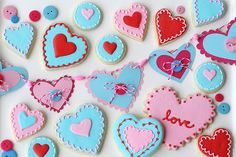 cute valentine garland and cookies