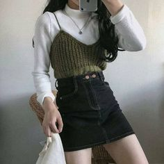 Korean Girl Fashion, Korean Fashion Trends, Ulzzang Fashion, Cute Fashion, Look Fashion, Korean Fashion School, Mode Outfits, Retro Outfits, Cute Casual Outfits