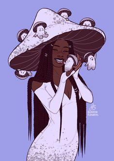 Black Girl Art, Art Girl, Black Art, Girl Cartoon, Cartoon Art, Cartoon Drawings, Witch Drawing, Mushroom Art, Mushroom Drawing