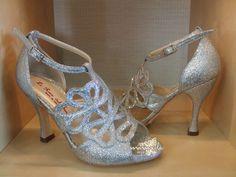 Item Florens, Sole Vero Cuoio, Materials glitter fabric, Toe Open, Back Closed, Color Silver, Heel Shape Flared