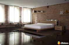 Ideas Dark Wood Bedroom Decor Interior Design Exposed Brick For 2019 Bedroom Loft, Home Bedroom, Bedroom Storage, Serene Bedroom, Master Bedrooms, Dream Bedroom, Bedroom Furniture, Loft Spaces, Living Spaces