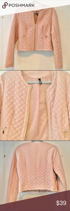 💕 Faux Leather  Quilted Jacket  in Pink Blush 💕 This Faux leather  Chanel inspired jacket comes in Pink blush this Springs hot color 🌸 It is fully lined and features Golden hardware zip pockets ❌ Please note this was purchased in Paris says XL but will fits more like a Large Medium ❌ Jackets & Coats Jean Jackets