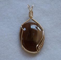 FREE S - Gorgeous Petrified Wood and Gold Wire Wrapped Pendant - A JewelryArtistry Original - P63