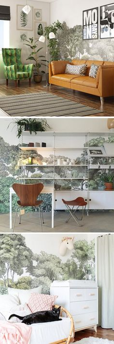 Get inspired on how to style our popular wall mural design Bellewood. We have collected our favorite pictures from our customers on Instagram. Read more... wall mural | toile | forest | pattern design | interior design | trees | trees mural | wallpaper
