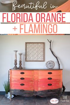 An orange crush! Learn how to transform your furniture with Chalk Mineral Paint for a unique look in your home! Florida Orange is an eye-catching, bright orange. This citrus color will infuse energy into any room.Use Florida Orange in your coastal oasis or chic space to add a bold, fresh feel! Diy Furniture Projects, Repurposed Furniture, Furniture Makeover, Sea Spray, Orange Painted Furniture, Gilding Wax, The Joy Of Painting, Florida Oranges