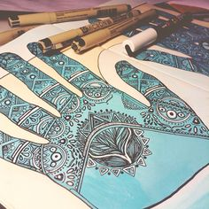 An illustration I did during the year. Started off as a doodle but I became inspired by henna art. Henna Art, Hand Henna, Hand Illustration, Hand Tattoos, Doodles, Behance, Hands, Inspired, Inspiration