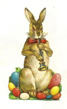 victorian     scrap easter rabbit