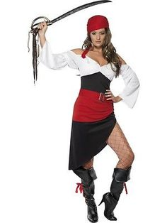 Women Costumes: Adult Womens Sassy Pirate Wench Costume With Skirt Costume Party - Large BUY IT NOW ONLY: $10.99