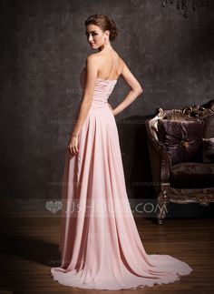 A-Line/Princess Sweetheart Asymmetrical Ruffle Beading Zipper Up Strapless Sleeveless Pearl Pink Spring Summer Fall General Plus Chiffon Prom Dress