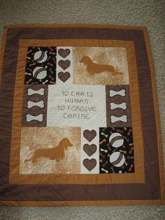 Red Brown Long Haired Dachshund Applique Quilt by ThePennyTassel, $149.00