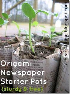 origami newspaper starter pots