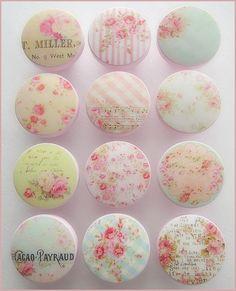 Shabby Knobs - Shabby Rose Knobs - Pink - Rose Knobs - Drawer Pulls -  Cottage Roses - Vintage