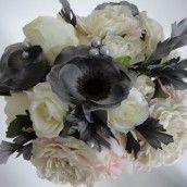 Grey & Ivory Silk Wedding Bouquet