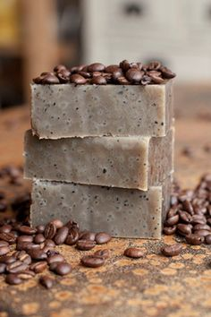 Father's Day DIY Gift Idea -Do It Yourself Coffee Flavored Scented Soap Tutorial and DIY Recipe via Offbeat and Inspired