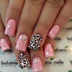 Pink leopard nails ♡
