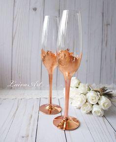 Wedding Champagne Flutes Champagne Glasses Rose Gold Wedding Toasting Flutes Set of 2