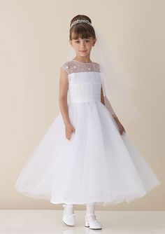 Princess Organza Jewel Natural Waist Tea-Length Cap sleeve Flowers Ruching Flower Girl Dress - Dress2015.com