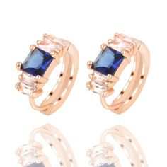 Fashion 4 Colors Square Crystal Stud Earrings