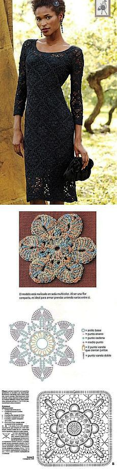 Dresses with crochet patterns.  Evening dress hook | All of needlework: the scheme, master classes, ideas Online labhousehold.com