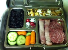 Tuesday: nitrate-free ham and salami, blackberries, carrots and cucumbers, mixed nuts and seeds, and a few M