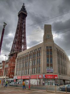 Blackpool seafront and tower- old Woolworths Building in foreground