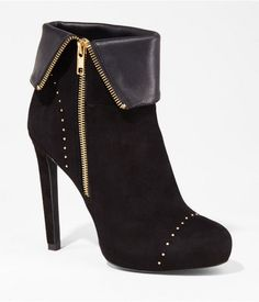 Studded Fold-over Heeled Bootie