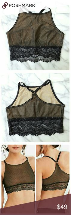 """Out From Under Noelle High Neck Bra Black pointelle mesh bra with racer back, high neck, adjustable straps and lace band. Pull-on styling,  fully lined. Nylon, hand wash. Band width 11"""", height from neckline to band 7.25"""", band 3.25"""" Urban Outfitters Intimates & Sleepwear Bras"""