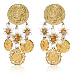 Dolce-Gabbana-Roman-Coins-Cherry-Blossom-gold-plated-Clip-Earrings
