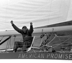 Dodge Morgan built American Promise with the goal to break the solo-nonstop circumnavigation under sail record. He did - blew it away by over 60 days in Marine Debris, Naval Academy, Dodge, Photo Galleries, Sailing Yachts, Boat, Memories, American, Pictures